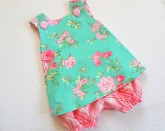 REVERSIBLE Cross Back Pinafore Top and Bloomers Set for baby or toddler - 3 mos to 5 - Garden Romance Seamist - Rosewater Collection