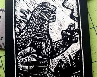 Godzilla Scratchboard Art Card