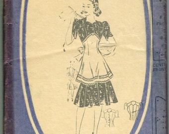 VINTAGE 1930s Dress APRON Mail Order Pattern Size 12 Sleeve Options Factory Folded 3402