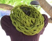 Arm knit chunky infinity cowl in soft wool blend yarn in lemongrass