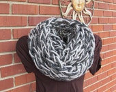 Arm knit chunky infinity cowl in gray marble and granite
