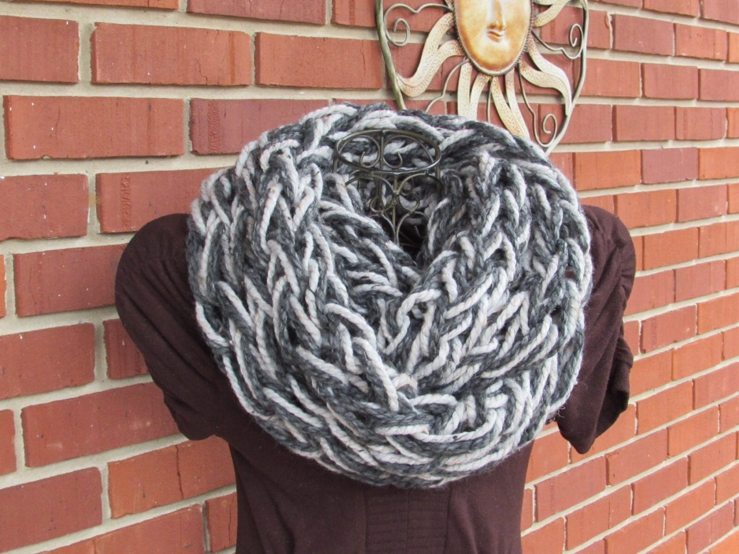 Arm Knitting Cowl : Arm knit chunky infinity cowl in gray by thelefthandedhooker