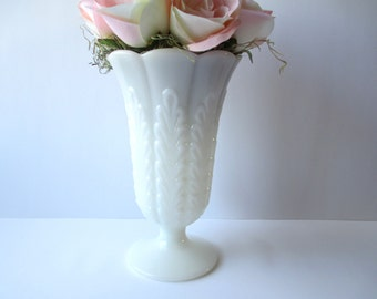 Large Vintage EO Brody Milk Glass Scalloped FootedVase