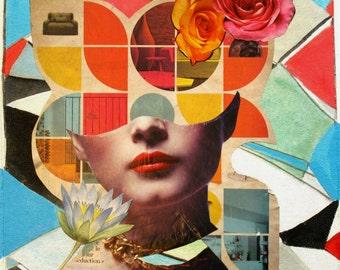 Galactic Masquerade, A Micci Cohan Original Album Art Mixed Media Collage Fine Art Painting On Canvas