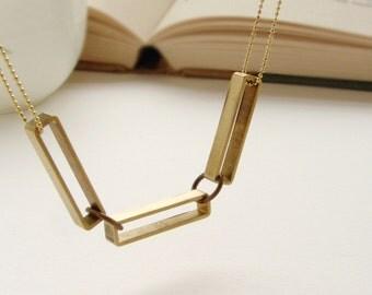 statement necklace, geometric chocker necklace, rectangle statement necklace, Rectangular chain link, minimal brass jewelry