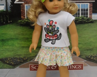 Juggling Kitty - pleated skirt with embroidered tshirt for American Girl doll