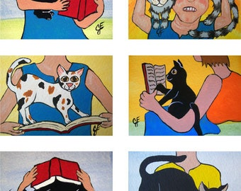 """Set of 6 Cards CATS Kitties Tuxedo Kitty ACEO ATC Collection Of Kittens """"Try to Read a Book"""" Art Deco Prints Pop Art Ellison"""