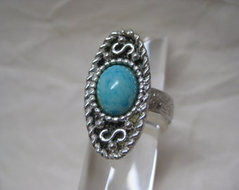 Turquoise Blue Silver Ring Adjustable Vintage Sarah Coventry