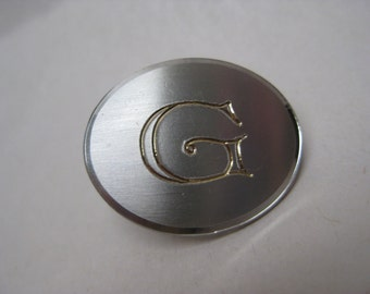 G Initial Silver Oval Tie Clip Vintage Engraved Swank
