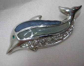 Dolphin Blue Green Brooch Silver Rhinestone Clear Vintage Pin
