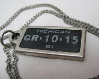 License Plate Michigan 1951 Necklace Black Silver Vintage Pendant Disabled American Veterans