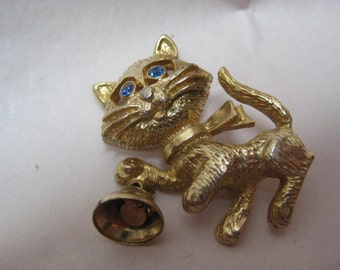 Cat Brooch Bell Gold Blue Rhinestone Vintage Pin Kitten Avon