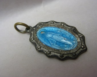 Mother Mary Blue Silver Charm Enamel Vintage Christian Pendant