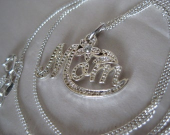 Mom Rhinestone Sterling Necklace Vintage Pendant 925 Silver Clear Mother