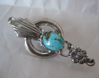 Turquoise Silver Flower Brooch Vintage Pin