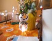 CUTIE PIE  A Snow Person, Snowman  Ornament, Purse Charm, Suncatcher, Rearview Mirror Jewel,