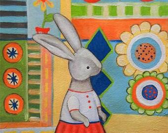 Art Print - Bunny Party 9 X 12, by Deanna Hogan
