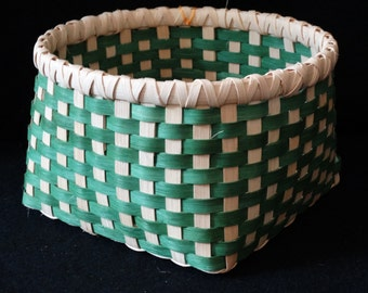 Hand Woven Basket in Kelly  Green and Natural (white).  Storage Basket. Basket.  Hand made baskets in fun colors.