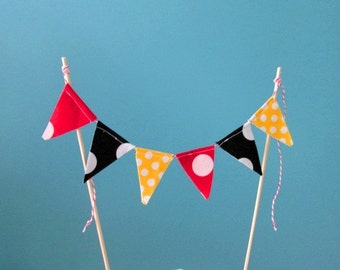 Mickey Mouse theme Fabric Bunting -Cake Bunting -Mini Birthday Banner -Cake Topper -1st Birthday -Mini Bunting -Cake Smash