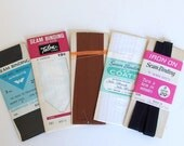 Vintage Seam Binding Sewing Notions - Black, White and Brown