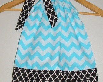 BLUE on BLue chevron black trim  Pillowcase dress available in size  6 months 1t,2t,3t,4t,5t,6,7,8,10,12