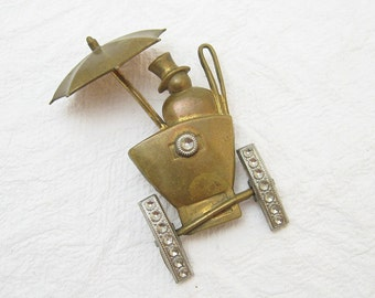 Brass Brooch Carriage Buggy Retro Vintage Jewelry  P4555