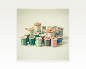 Sewing Art, Sewing Room Decor, Craft Room Art, Gift for Woman, Pastel Decor, Neutral Colours, Cotton Reel Photo - City
