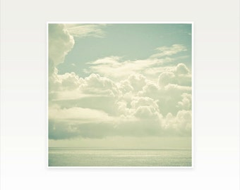 Ocean Art, Seascape, Cloud Photograph, Sky, Silver, White, Water, Nature photography, Bathroom Decor - As the Clouds Gathered