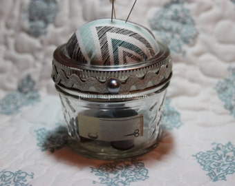 Blue Chevron Mason Jar Sewing Kit