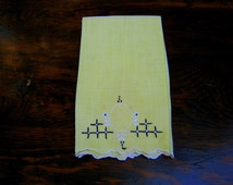 Vintage Shabby Chic Guest Towel, Vintage Yellow Guest Towel, Finger Towel, Embroidered Guest Towel