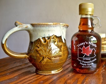 Maple syrup pitcher with maple syrup, gravy boat, ceramic creamer, coffee tea service, brown, handmade stoneware by hughes pottery