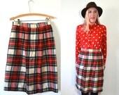 Tartan Midi Skirt - High Waist Pencil Skirt - Wool Plaid Skirt - Tartan Skirt