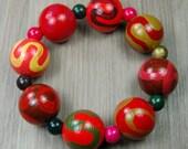 SALE! Hand-painted Wooden Bead Bracelet - Orange - Brown - Olive - Elasticated