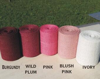 3 inch Pink Burlap Ribbon - 3 yards