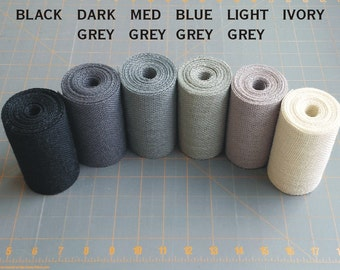 4 inch GREY BLACK or IVORY Burlap Ribbon