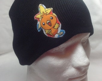 Pokemon Torchic Beanie Skullcap Hat - made with up-cycled Pokemon fabric