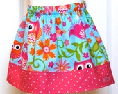 Little Girls Skirt - The Olivia Skirt - owls - available in sizes 1, 2, 3, 4, 5