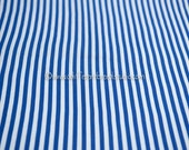 Colorful Royal Blue and White Stripe - Vintage Fabric wide New Old Stock Cabana Nautical