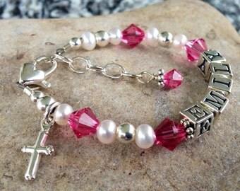 Baptism Gift Custom Name Little Girl/Baby Bracelet- Charm Included, Baptism, First Communion