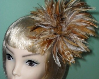 Custom Made Brown and Cream Natural Hackle Feather Fascinator By Taissa Lada Designs,Bridal Headpiece,Steam Punk,Kentucky Derby,Pin Up,Goth