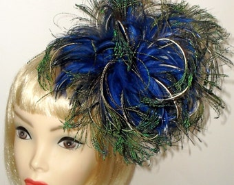 Custom Made Blue and Green Feather Headband By Taissa Lada Designs,Peacock Swords,Blue Hackle Feathers,Burlesque,Feather Headband,Bridal