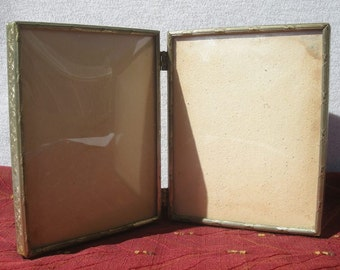 Vintage double metal picture frame Convex Glass folded book style