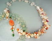 Coral pink bead necklace. Asymmetric garland necklace with pearls, rose quartz, fire agate in silver - Dela Robbia