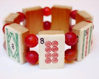 Mah Jongg Bracelet / Mah Jong / Mahjongg / Mahjong / Mah Jong / Bracelet / Bone / Bamboo / Vintage / 1930s / Hand Carved / Dovetailed / Chic