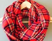 Red tartan plaid flannel infinity scarf