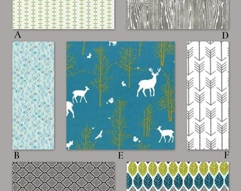 Woodland Baby Bedding in Teal Turquoise and Gray - Oh Deer!