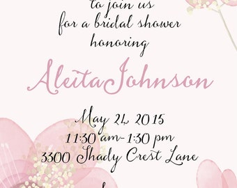 custom pink flower invitations wedding bridal announcements  custom original watercolor bridal invitations