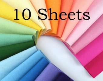 Wool Felt, CHOOSE TEN Sheets, 100% Merino Wool, Felt Sheets