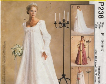 McCalls 2645 Misses Renissance Wedding Dress Pattern Alicyn Womens Sewing Pattern Size 14 16 18 Bust 36 - 40 OR 12 14 16 Or 10 12 14 UNCUT