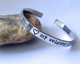 I love My Soldier hand stamped cuff bracelet, military stamped bracelet